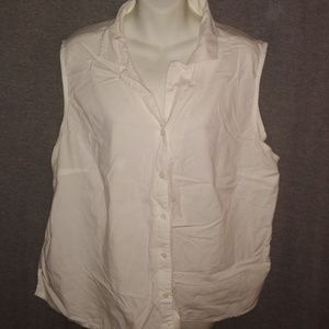 Faded Glory White Sleeveless Top 22W/24W Blouse